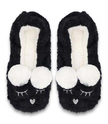 پاپوش پشمی فانتزی کف استپدار طرح پوم دار خرگوش خواب مشکی