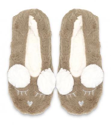پاپوش پشمی فانتزی کف استپدار طرح پوم دار خرگوش خواب قهوهای روشن