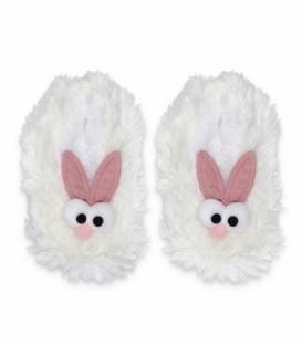 پاپوش پشمی بچگانه گوشدار کف استپدار طرح چشم قلمبه سفید