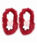 پاپوش پشمی بچگانه گوشدار کف استپدار طرح چشم قلمبه قرمز