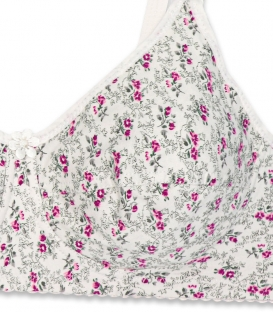سوتین لاکرا پنبه (نخی) بدون فنر Adak آداک کد 636 گل رز سفید