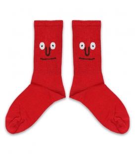 جوراب ساقدار کش انگلیسی طرح صورتک قرمز