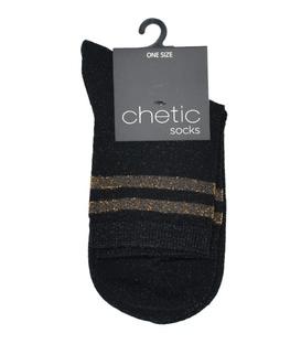جوراب Chetic چتیک لمهای مشکی خط طلایی