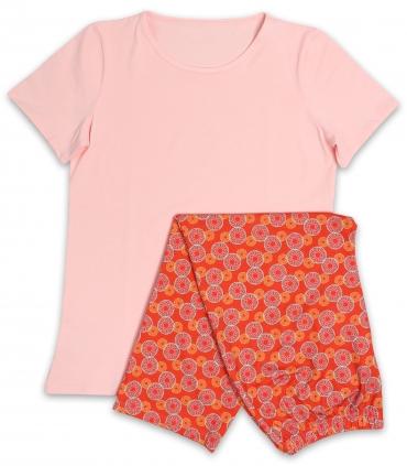 لباس راحتی تیشرت و شلوارک نخی Neev نیو کد 4041 صورتی نارنجی