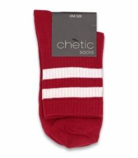 جوراب نیم ساق Chetic چتیک طرح دو خط سفید قرمز