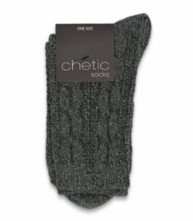 جوراب ساقدار بافت Chetic چتیک ساده خاکستری