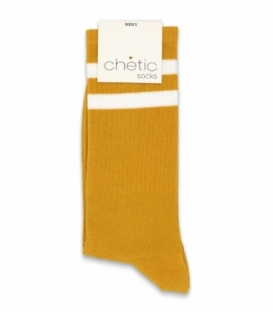 جوراب ساقدار کش انگلیسی Chetic چتیک طرح دو خط سفید زرد