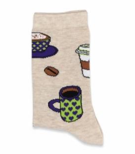 جوراب ساقدار Chetic چتیک طرح فنجان قهوه کرم