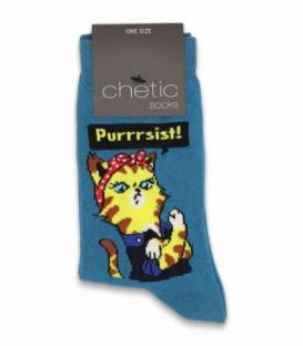 جوراب ساقدار Chetic چتیک طرح گربه Purrrsist آبی