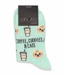 جوراب ساقدار Chetic چتیک طرح قهوه و گربه سبز روشن