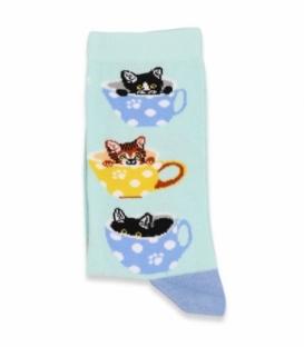 جوراب ساقدار Chetic چتیک طرح گربه در فنجان آبی روشن