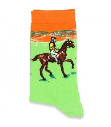 جوراب ساقدار Chetic چتیک طرح سوارکار اسب سبز روشن