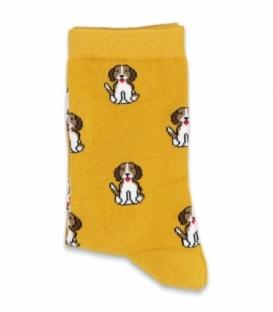 جوراب ساقدار Chetic چتیک طرح سگ مودب پرتقالی