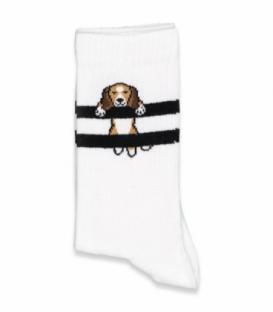 جوراب ساقدار Chetic چتیک طرح سگ آویزان سفید