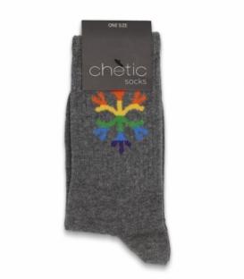جوراب ساقدار Chetic چتیک طرح برف رنگی خاکستری