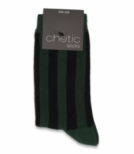 جوراب ساقدار Chetic چتیک طرح راه راه سبز مشکی
