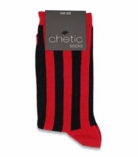 جوراب ساقدار Chetic چتیک طرح راه راه قرمز مشکی