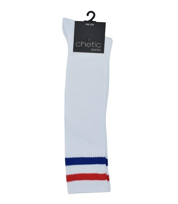 جوراب Chetic چتیک سفید زیر زانو خط دار آبی و قرمز