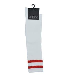 جوراب Chetic چتیک زیر زانو سفید خط دار قرمز
