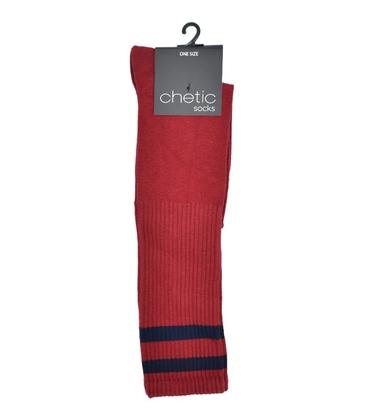 جوراب Chetic چتیک زیر زانو قرمز خط دار سرمهای