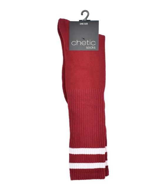 جوراب Chetic چتیک زیر زانو قرمز خط دار سفید