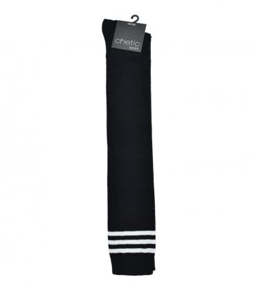 جوراب Chetic چتیک بالا زانو مشکی خط دار سفید