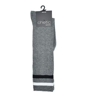 جوراب Chetic چتیک زیر زانو خاکستری خط دار مشکی و سفید