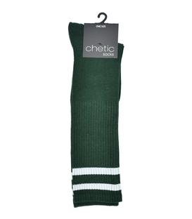 جوراب زیر زانو Chetic طرح خط دار سبز سفید