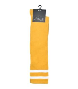 جوراب زیر زانو Chetic چتیک زیر زانو زرد خط دار سفید