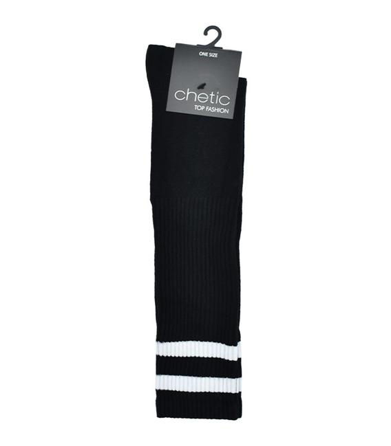 جوراب زیر زانو Chetic مشکی خط دار سفید پهن