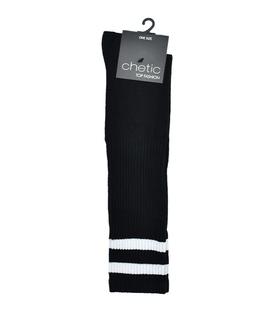 جوراب Chetic چتیک زیر زانو مشکی خط دار سفید پهن