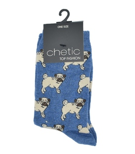 جوراب ساقدار Chetic چتیک طرح سگ اخمو آبی