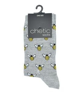 جوراب Chetic چتیک طرح زنبور طلایی خاکستری