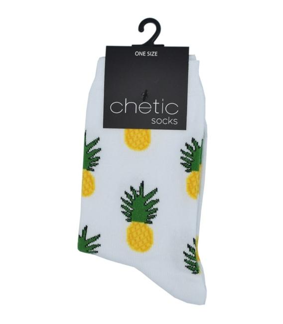 جوراب ساق دار Chetic طرح آناناس سفید