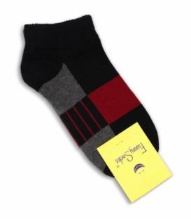 جوراب فانی ساکس مچی طرح سه رنگ خط دار مشکی خاکستری قرمز کد 1025