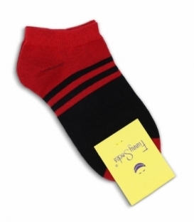 جوراب فانی ساکس مچی طرح دو رنگ خط دار مشکی قرمز کد 1027