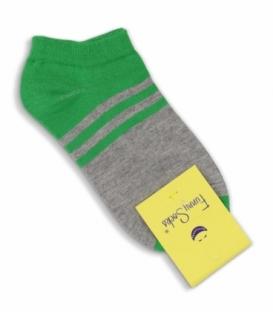 جوراب فانی ساکس مچی طرح دو رنگ خط دار خاکستری سبز کد 1027