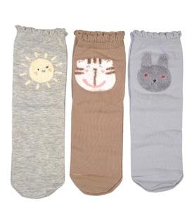 جوراب نیم ساق طرح گربه و خرگوش و خورشید - ۳ جفت