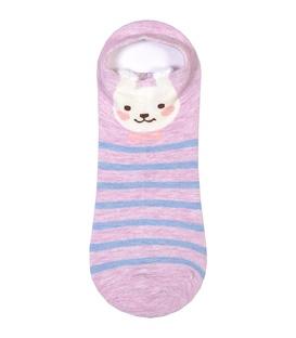 جوراب مچی گوشدار طرح خرگوش راه راه یاسی