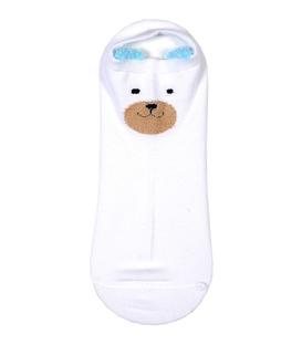 جوراب مچی گوشدار طرح خرس خندان سفید