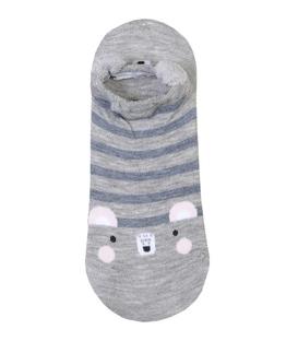 جوراب مچی طرح موش راه راه خاکستری