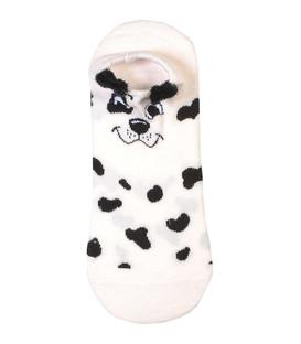 جوراب قوزکی طرح سگ خال خالی سفید