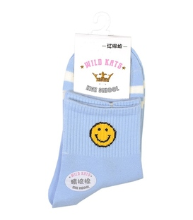 جوراب نیم ساق طرح ایموجی خنده آبی