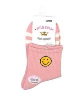 جوراب نیم ساق طرح ایموجی خنده صورتی