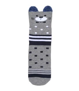 جوراب نیم ساق گوشدار طرح گربه جنتلمن خاکستری
