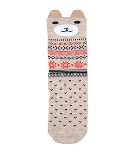 جوراب نیم ساق گوشدار طرح گربه خندان کرم