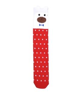 جوراب ساقدار گوشدار طرح خرس جنتلمن قرمز