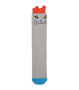 جوراب ساق بلند گوشدار طرح گربه خوشحال خاکستری