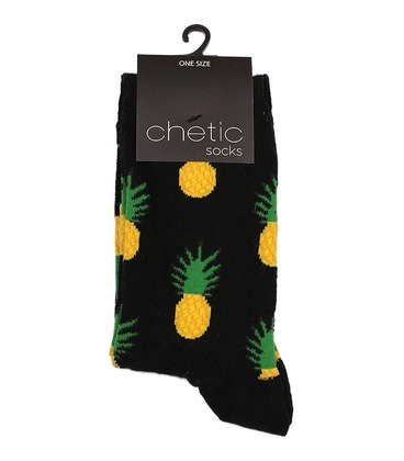 جوراب ساق دار Chetic طرح آناناس مشکی