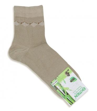 جوراب نیم ساق بامبو Ekmen اکمن طرح لوزی کرم